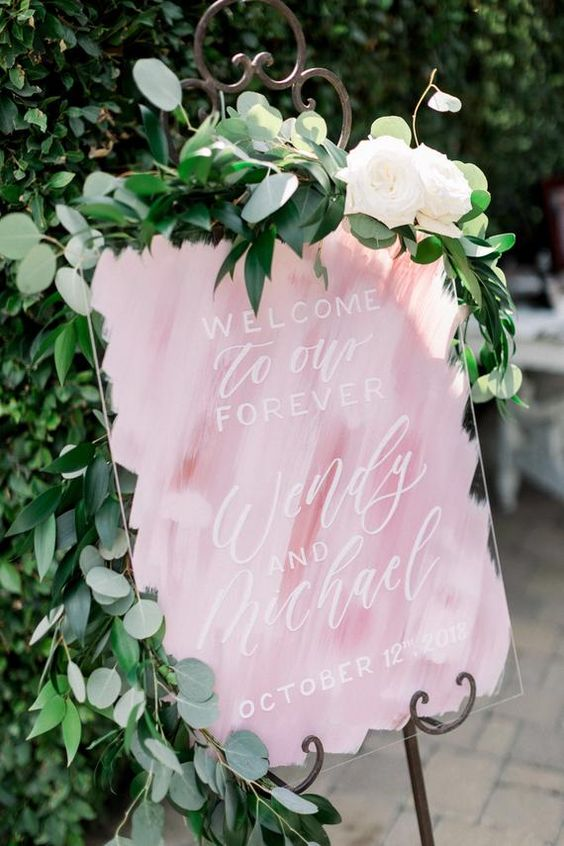 pink wedding welcome sign